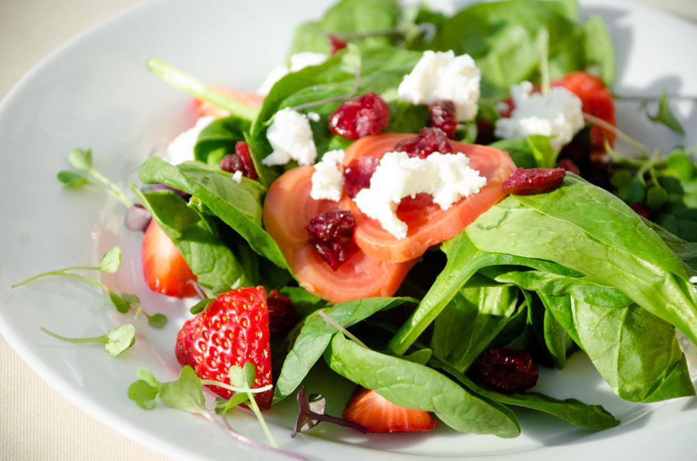 A Beautiful Spinach and Strawberry Salad - Catering by Seasons at the Josephine Butler Parks Center