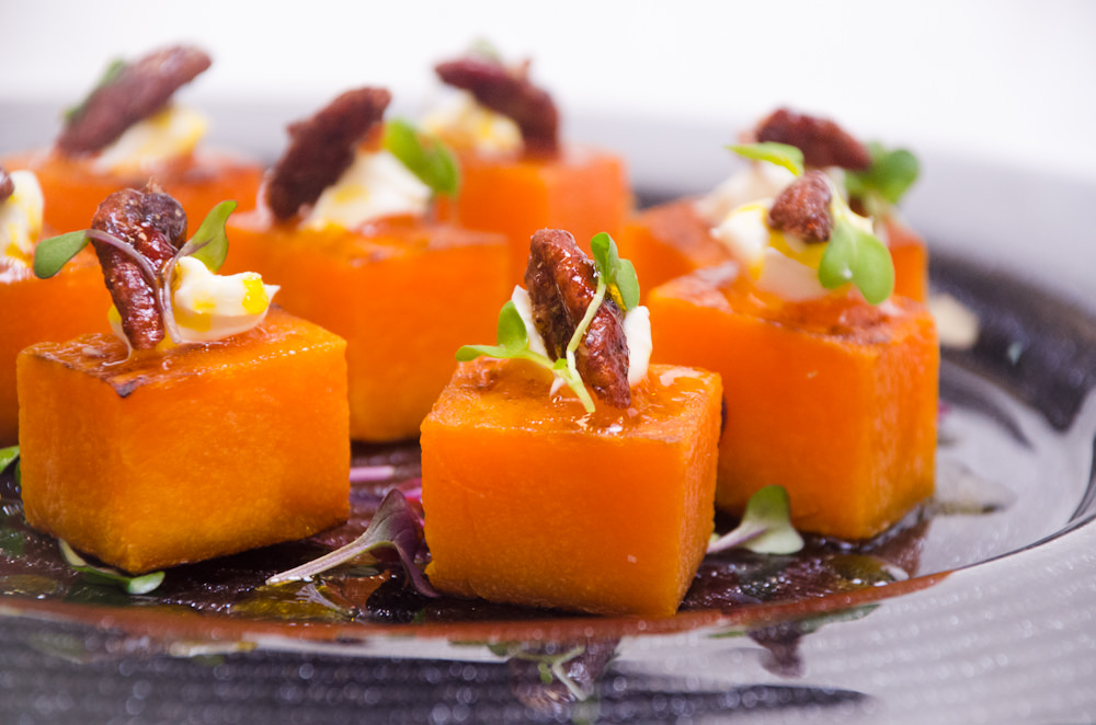 Butternut Squash Cubes with mascarpone and candied pecans - Catering by Seasons