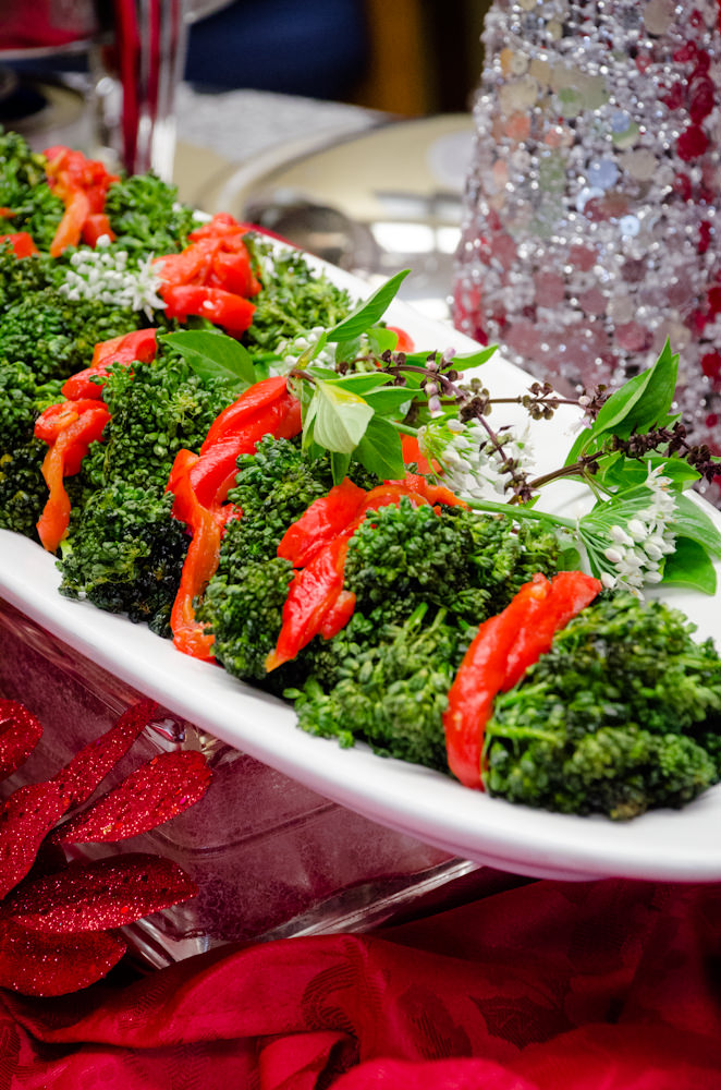 Broccolini with Red Pepper Strips - Catering by Seasons