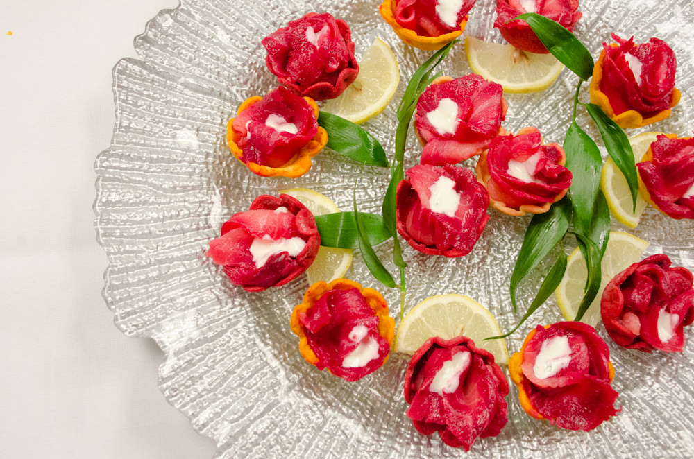 Beet-cured Salmon in Pastry Flowers - Catering by Season