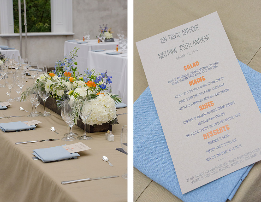 Ian and Matthew Wedding Menu - Catering by Seasons
