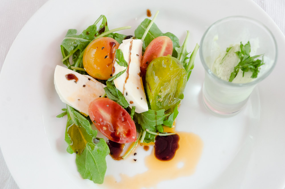 Farm to Table Caprese Salad with Basil Sorbet - Catering by Seasons