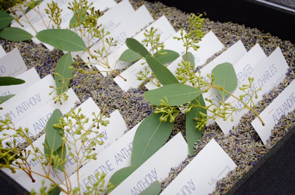 Wedding Name Cards displayed among herbs - Catering by Seasons