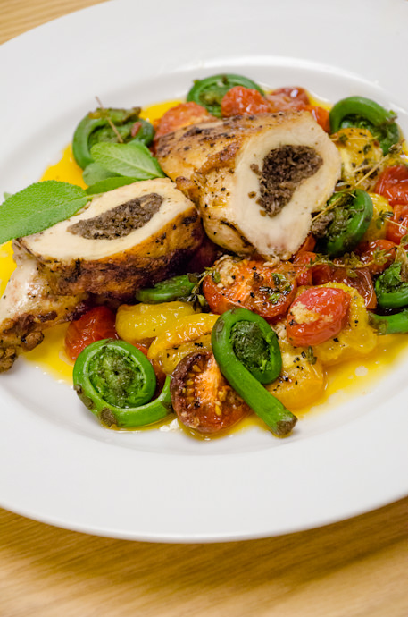 Airline Chicken with Fiddlehead Ferns