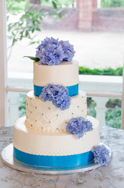 Wedding Cake with Freshly-Cut Flowers