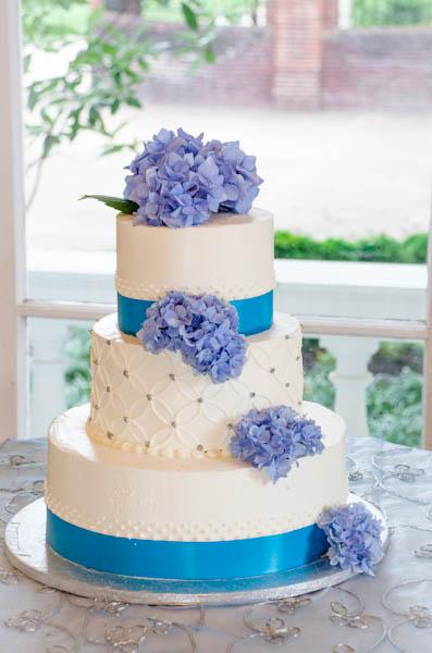 Wedding Cake with Freshly-Cut Flowers