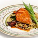 Roasted Salmon with Wild Rice and Vegetables
