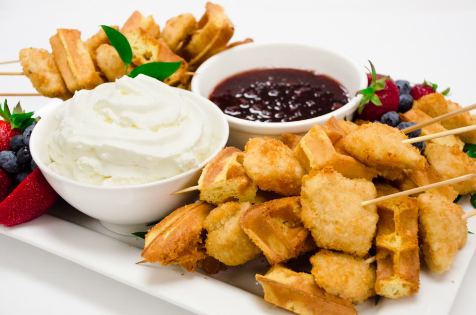 Chicken and Waffle Skewers with Catering by Seasons