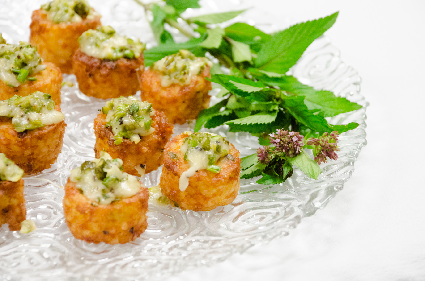 Risotto Cakes topped with Asparagus and Parmesan Cheese from Catering by Seasosn