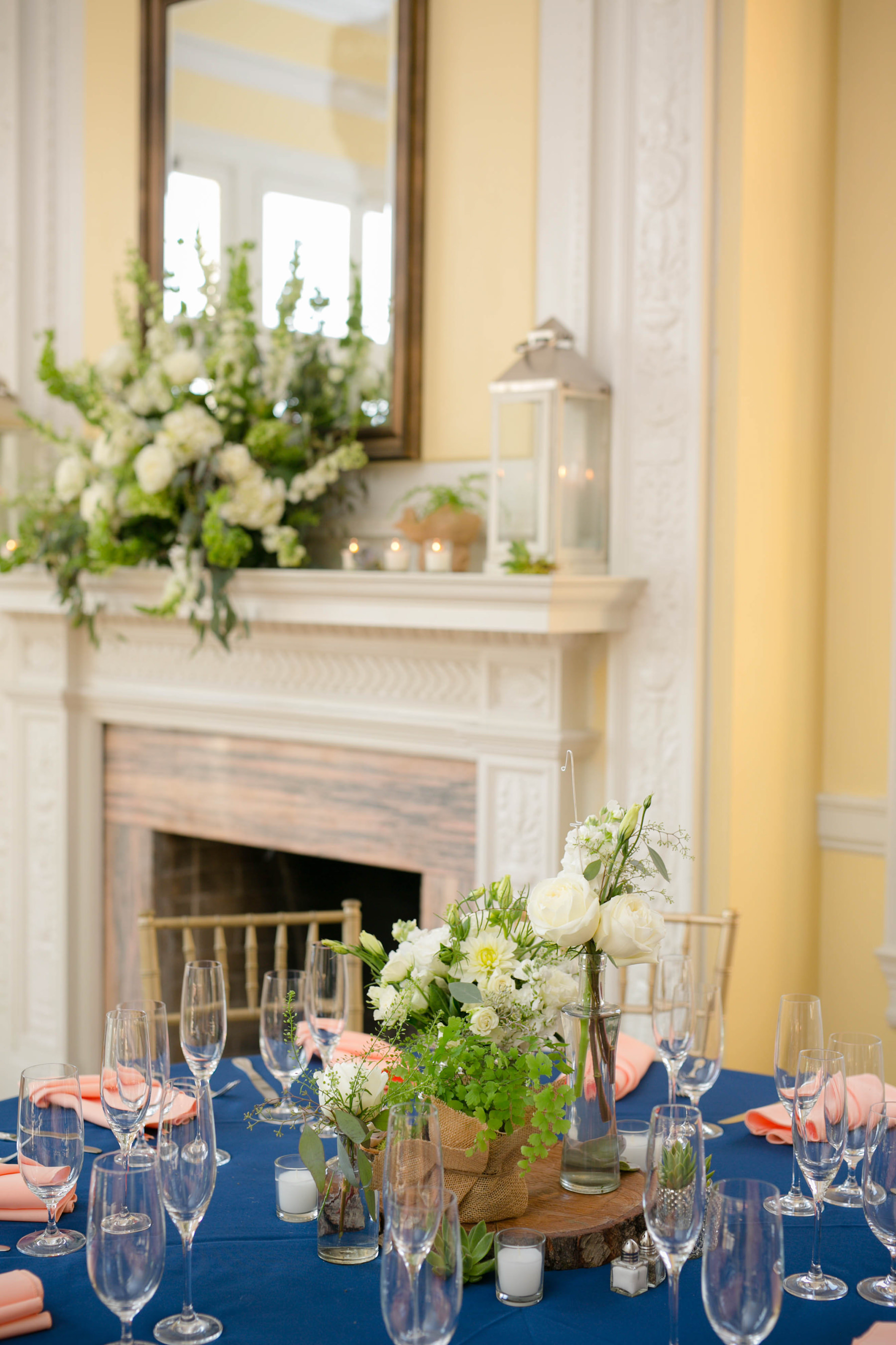 Navy blue and coral linens for a Washington, D.C. wedding