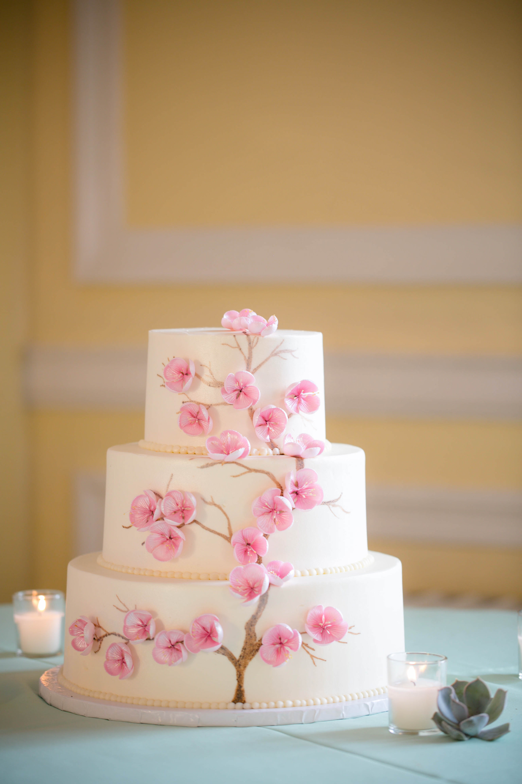 Custom Cherry Blossoms Wedding Cake for D.C. weddings